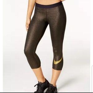 Nike Pro Dri-Fit Sparkle Capri Leggings Gold Black